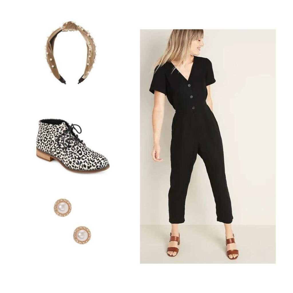 Fall outfit: Black jumpsuit, leopard print boots, pearl headband, and pearl earrings.