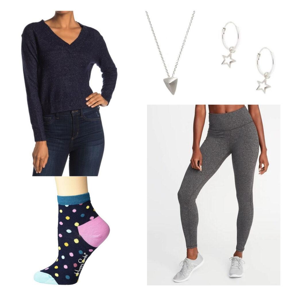 Dark blue v-neck sweater, silver triangle necklace, silver hoop earrings, dark grey leggings, polka dot socks