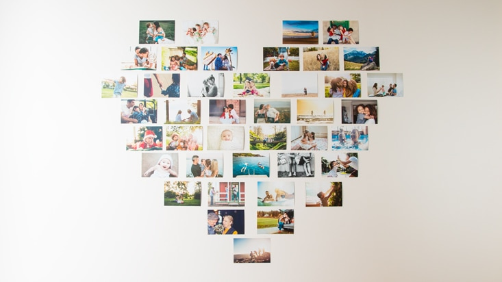 Photo wall ideas for dorms - heart wall collage