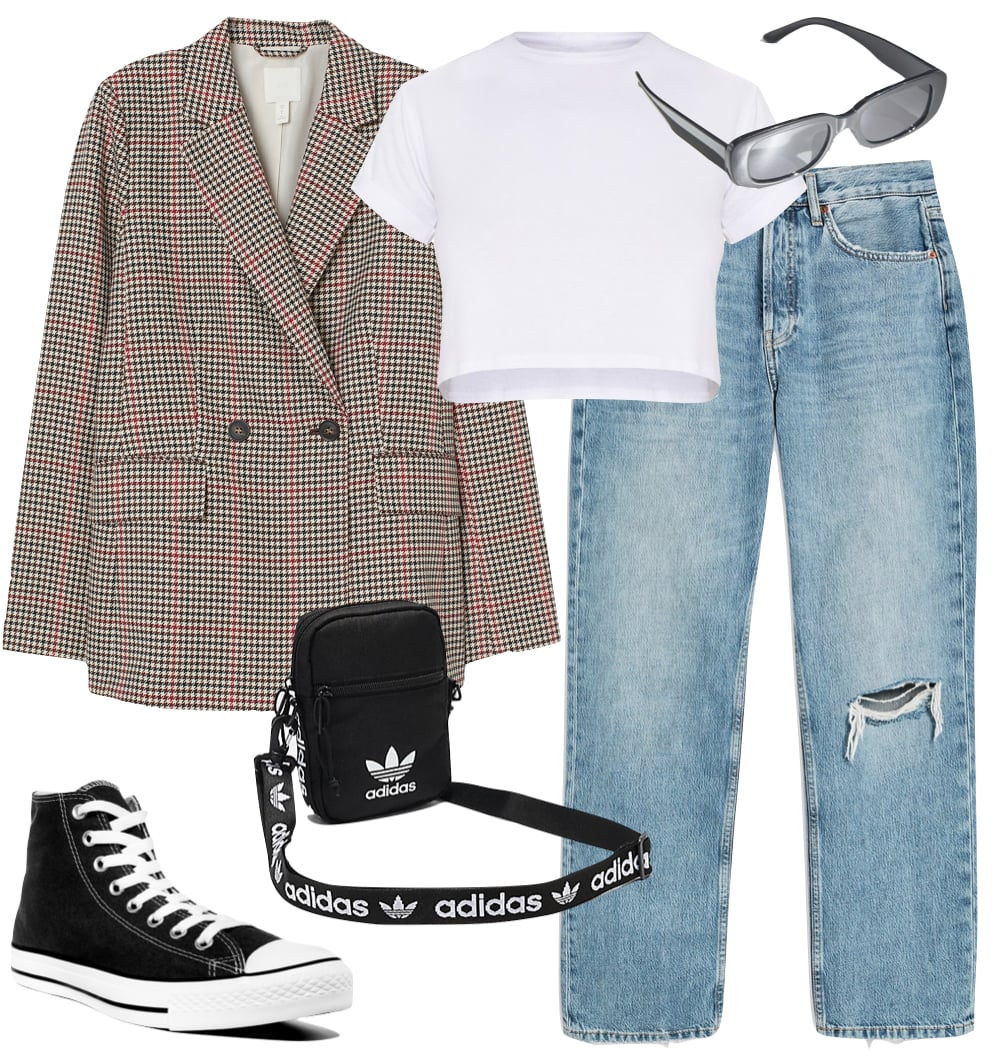 Kaia Gerber Outfit: checked blazer, white crop t-shirt, ripped knee boyfriend  jeans, black rectangle sunglasses, Adidas logo strap crossbody bag, and black Converse All Star high top sneakers