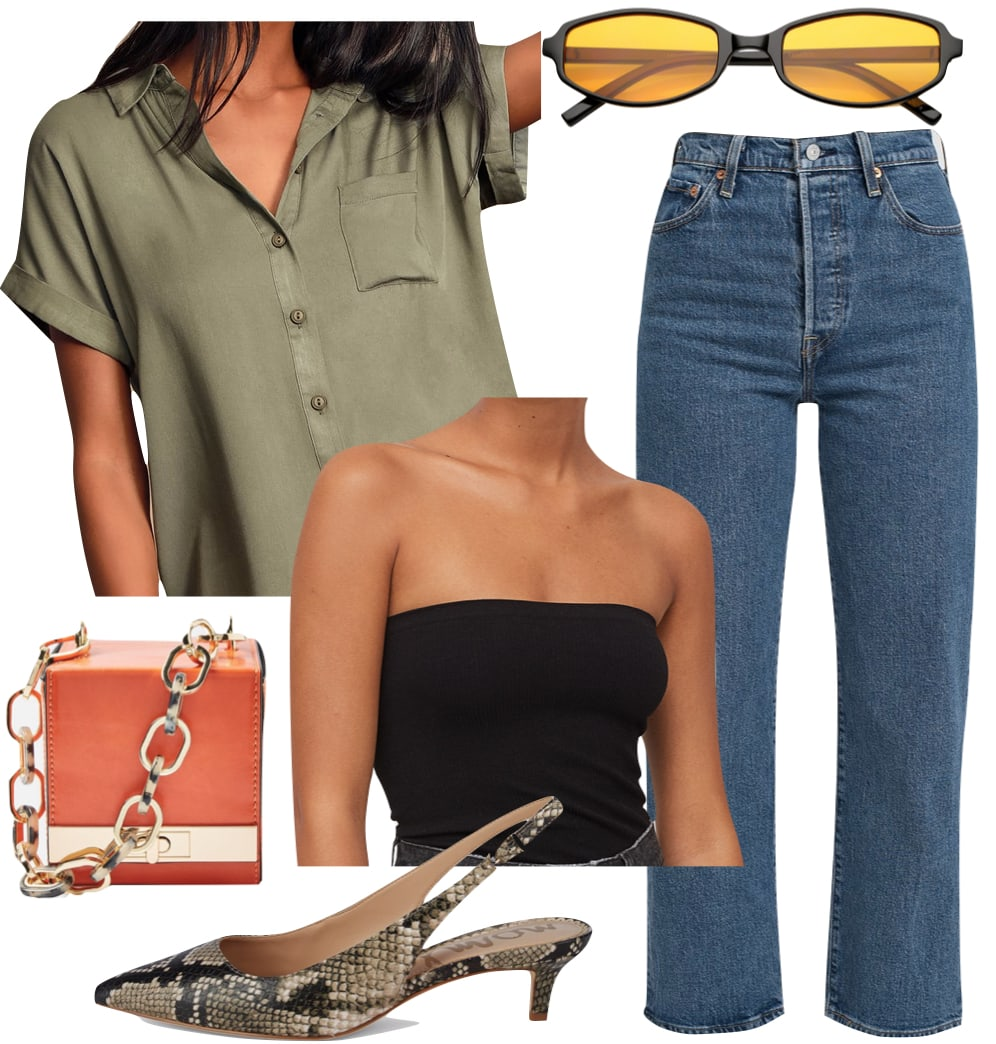 Kaia Gerber Outfit #2: green short sleeve button down shirt, black tube top, high rise straight leg jeans, black and yellow lens sunglasses, orange boxy chain strap bag, and snakeskin slingback pumps