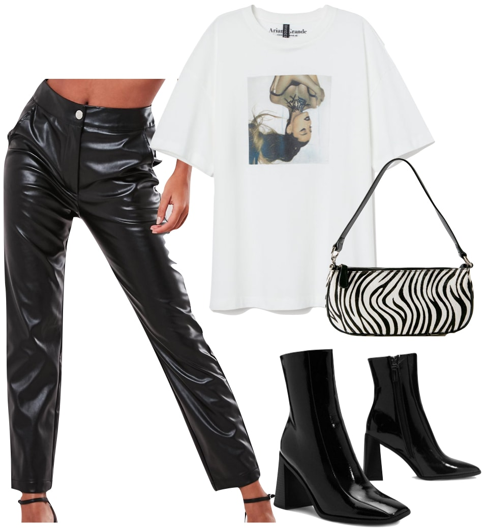 Kendall Jenner Outfit: faux leather trousers, white graphic print t-shirt, zebra print shoulder bag, and black square toe ankle booties
