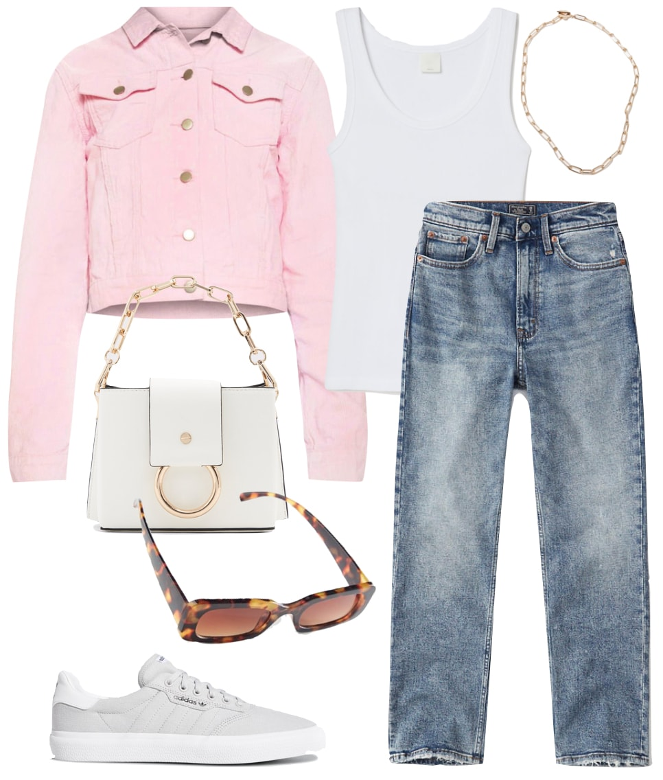 Kendall Jenner Outfit: white tank top, straight leg jeans, gold chainlink necklace, pink cord trucker jacket, white handbag with gold chain strap, gray low top sneakers, and tortoise rectangle sunglasses