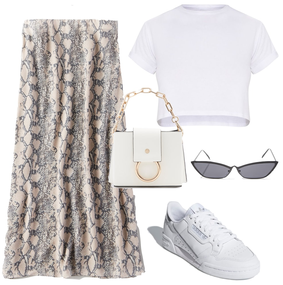 Kendall Jenner Outfit: snakeskin print midi skirt, cropped white t-shirt, white handbag, black cat-eye sunglasses, and white low-top sneakers