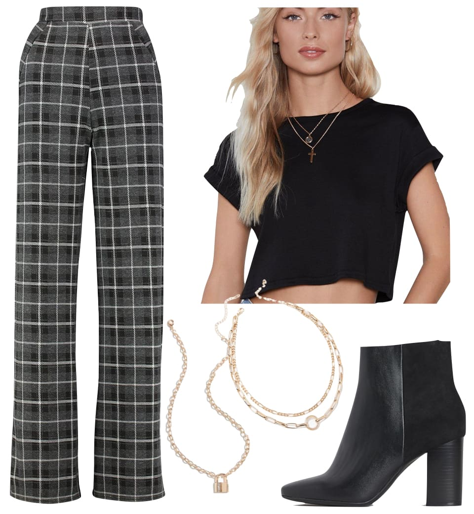 Kristen Stewart Outfit: plaid wide leg high rise trousers, black cropped t-shirt, gold padlock charm necklace, gold layered chainlink necklaces, and black ankle booties