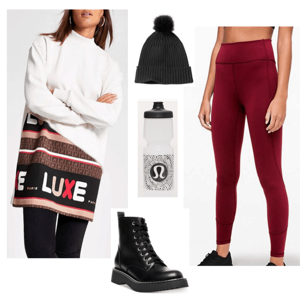 Lazy day outfits - oversized sweater, athleisure accessories like leggings, hat, water bottle, doc martens