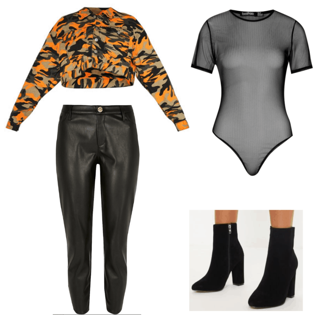 Lizzo concert outfit with black leather pants, camo jacket, sheer bodysuit, black ankle boots