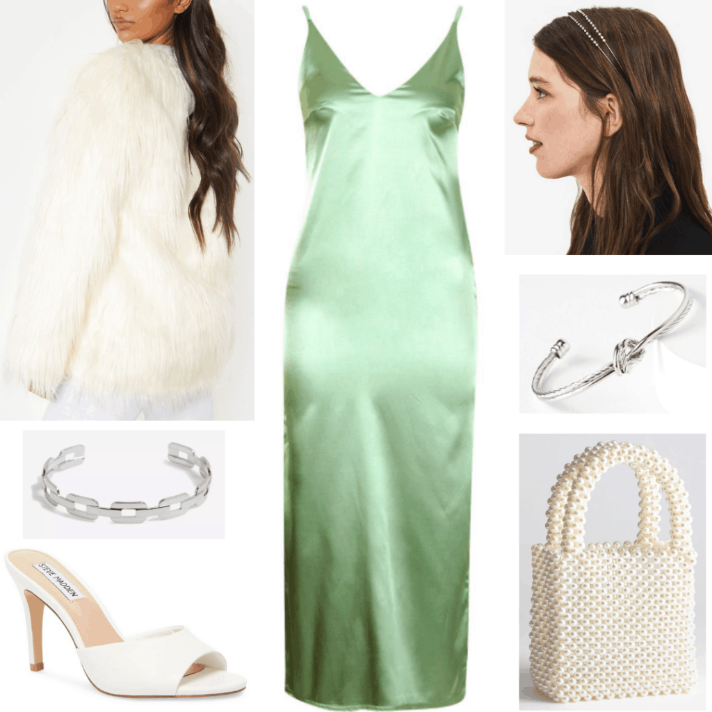 Lizzo concert outfit with green satin dress, faux fur coat, pearl bag