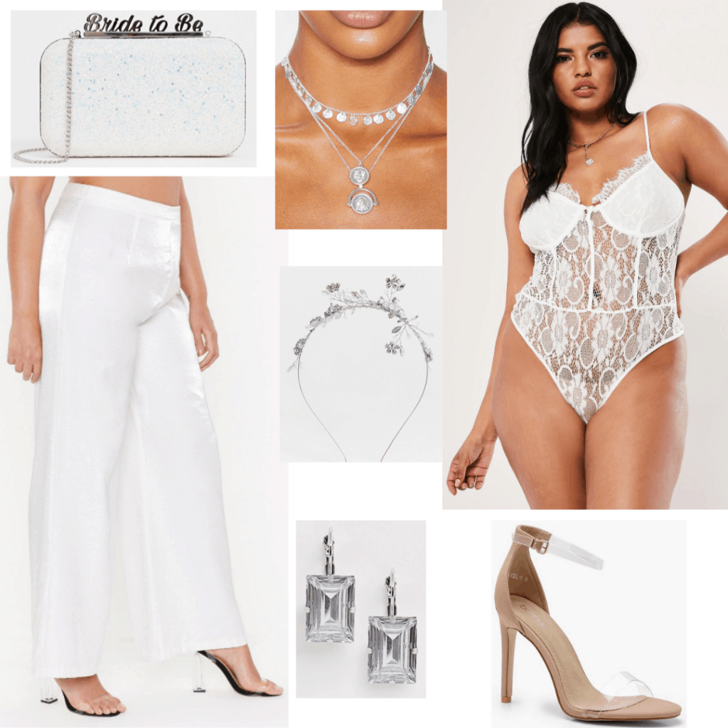 What to wear to a Lizzo concert outfit with white pants, white bodysuit, clear heels