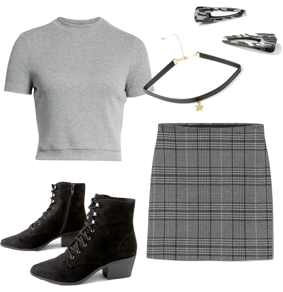 Lucy Hale Outfit: ribbed gray mock neck top, black choker, black pointy toe lace-up booties, gray plaid mini skirt, and hair clips