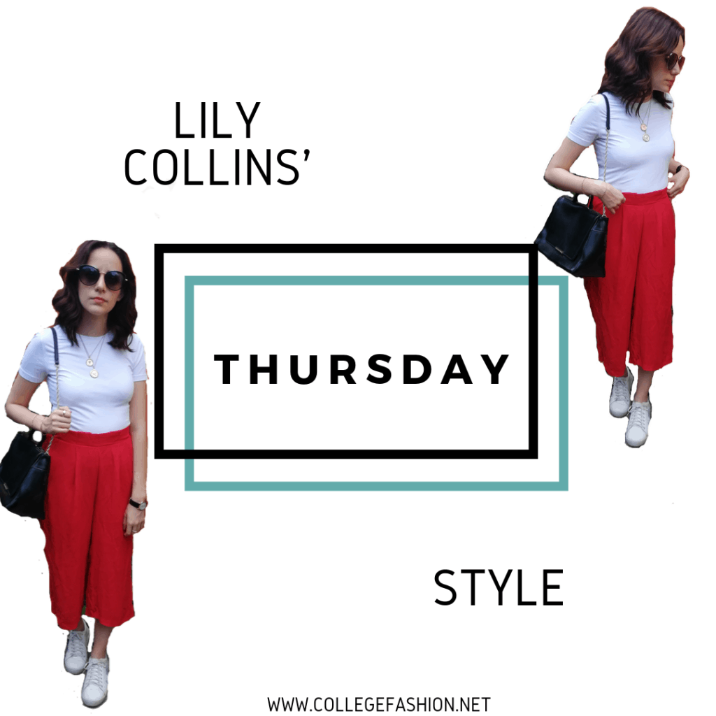 LILY COLLINS STYLE THURSDAY: RED PANTS, WHITE T-SHIRT, SNEAKERS, BLACK BAG