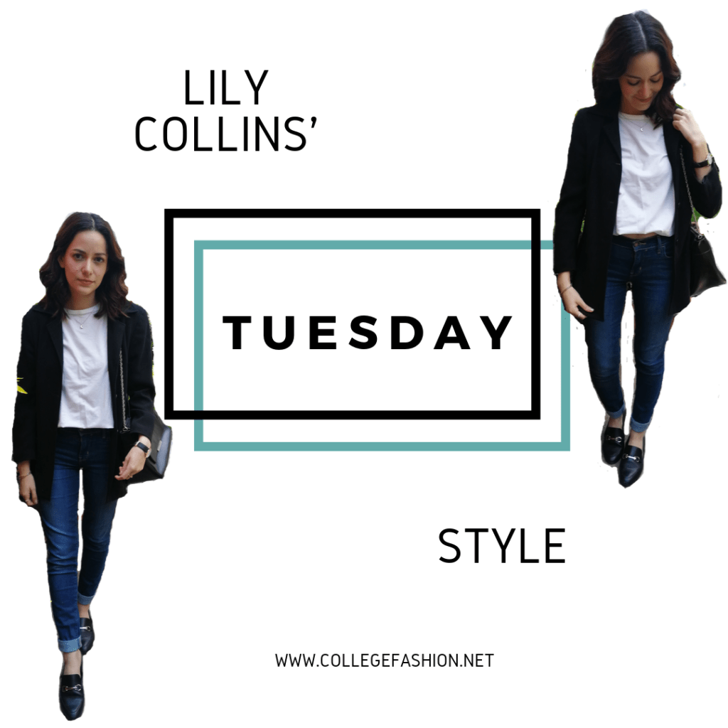 LILY COLLINS STYLE TUESDAY: BLACK BLAZER, T-SHIRT, JEANS, LOAFERS, BLACK BAG
