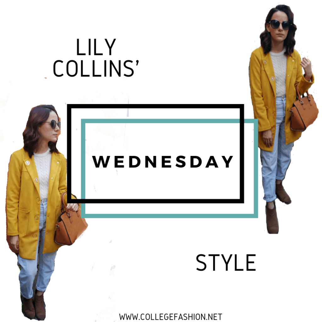 LILY COLLINS STYLE WEDNESDAY: YELLOW COAT, JEANS, SWEATER, BOOTIES