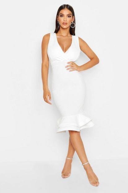 White body con ruffle dress from boohoo