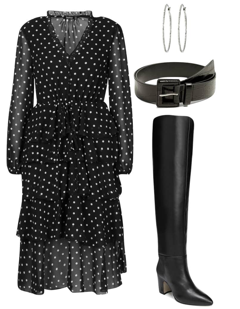 Zendaya Outfit: black and white polka dot long sleeve midi dress, black knee high boots, black belt, and silver rhinestone hoop earrings