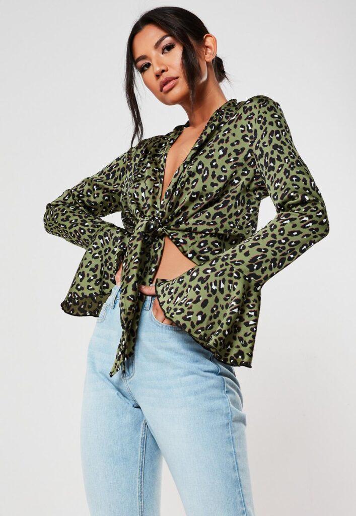 knot front animal print shirt