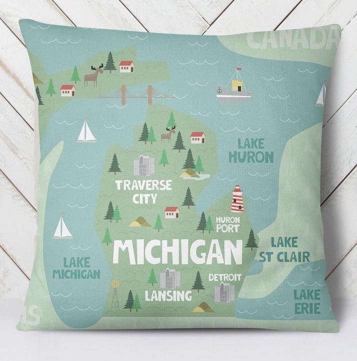 State decor - Michigan pillow.