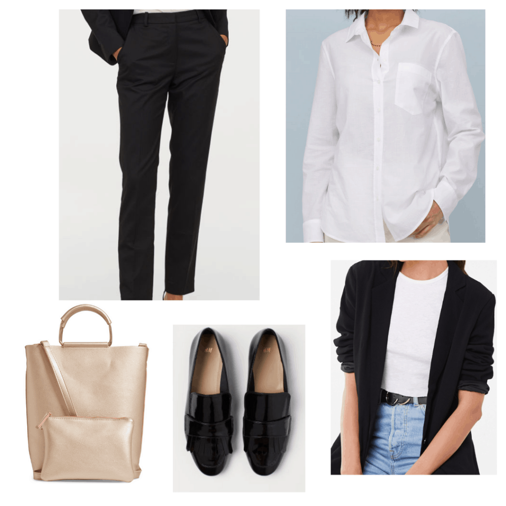 fall internship outfit for a professional setting with blazer, white shirt, loafers, neutral bag