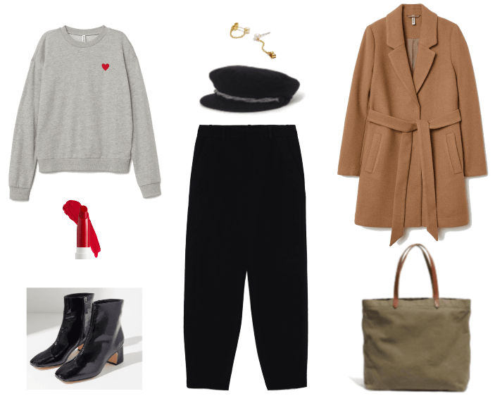 Ask CF: How Do I Dress My Age? Outfit #3 with heart sweater, oversized trousers, ankle boots, wrap coat