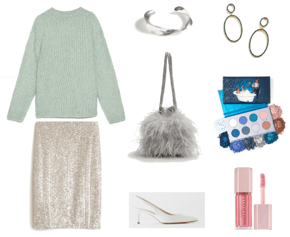 Ask CF: How to look older - Outfit #4 with sequin skirt, cropped sweater, furry bag, makeup, slingback heels