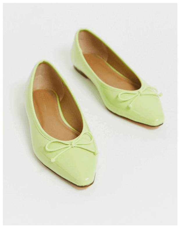 Cute flats - Lime Green Pointed-Toe Ballet Flats with Bow
