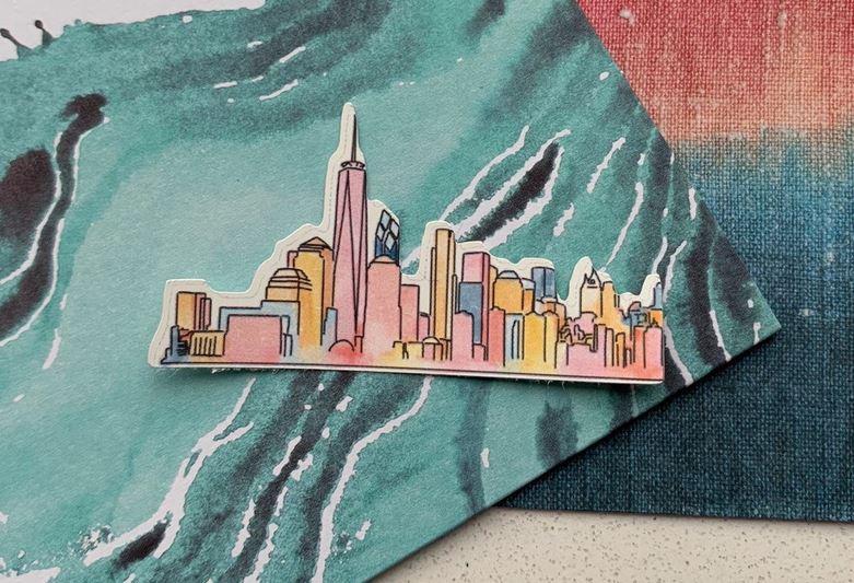 State decor - New York City skyline sticker.