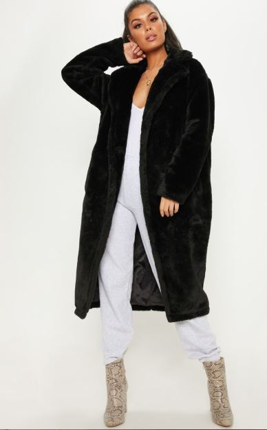 Black faux fur coat inspired by Lu from Elite