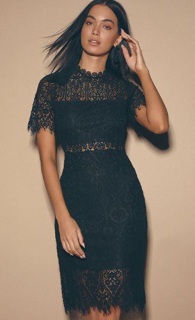 Little black lace dress from Lulus