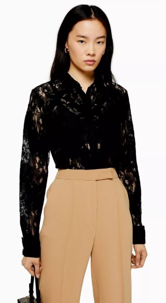 Topshop lace high neck top