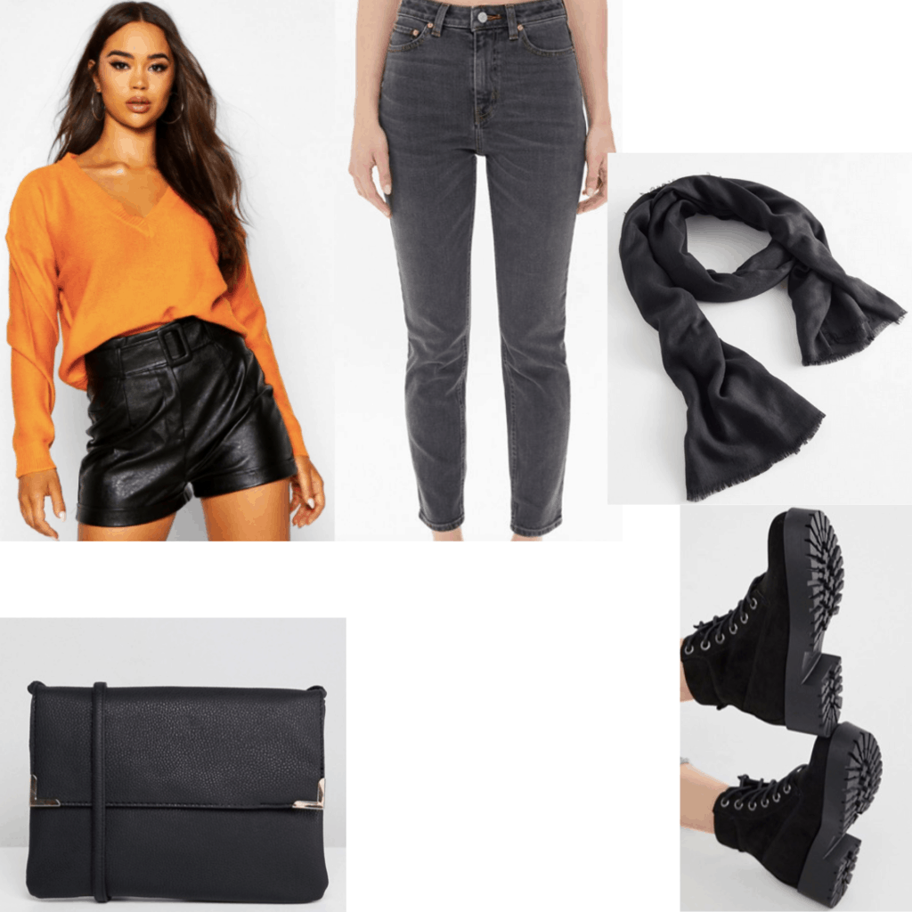 What to wear to a haunted house: Outfit set with an orange sweater, black jeans, black scarf, black bag and boots.