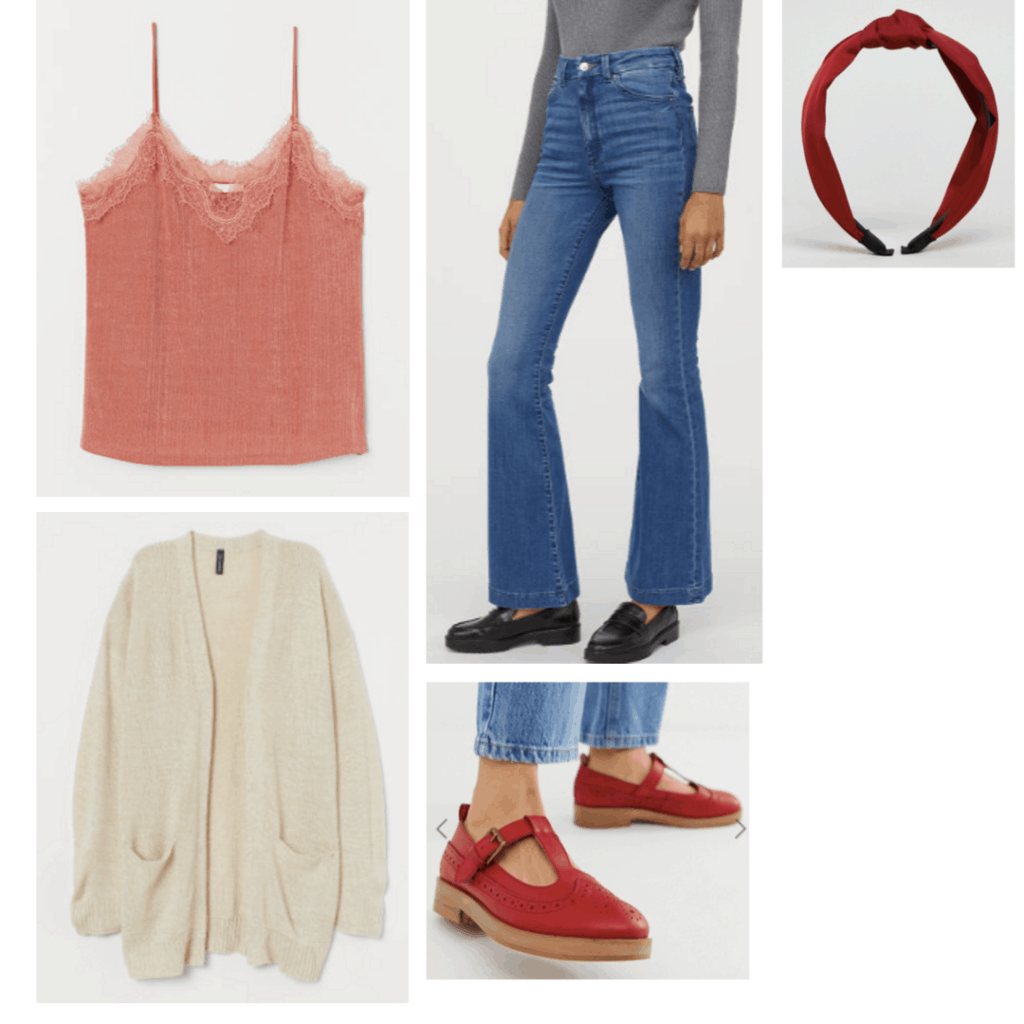 Outfit inspired by the movie Carrie with lace tank, bell bottom jeans, headband, chunky shoes, cozy cardigan