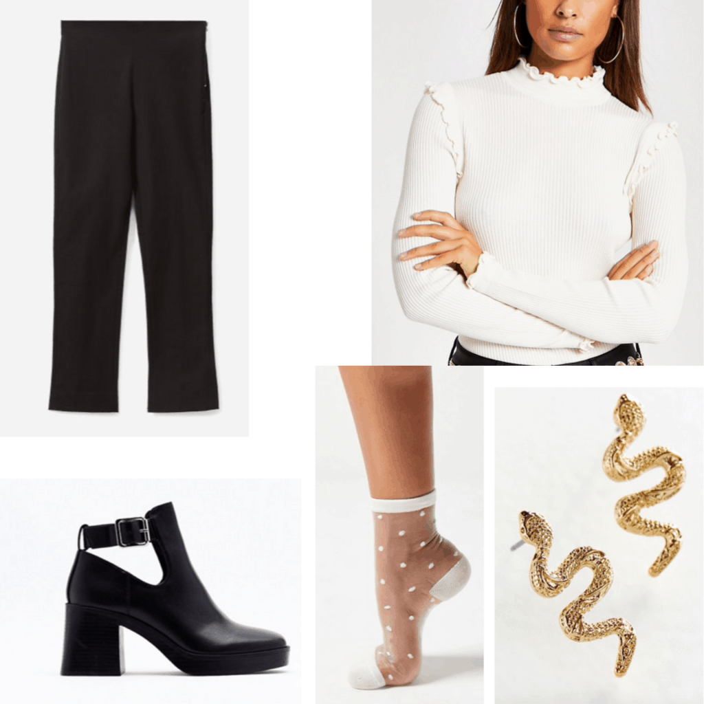 Outfit set with cut out boots, white sweater, black pants, polka dot socks and snake earrings.