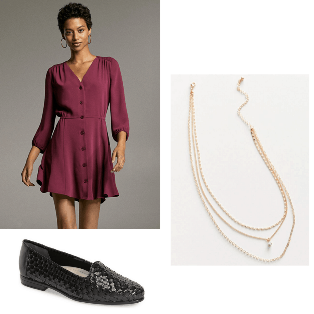 Outfit to wear to meet with your advisor: An outfit set with button down dress, gold necklace and black ballet flats.