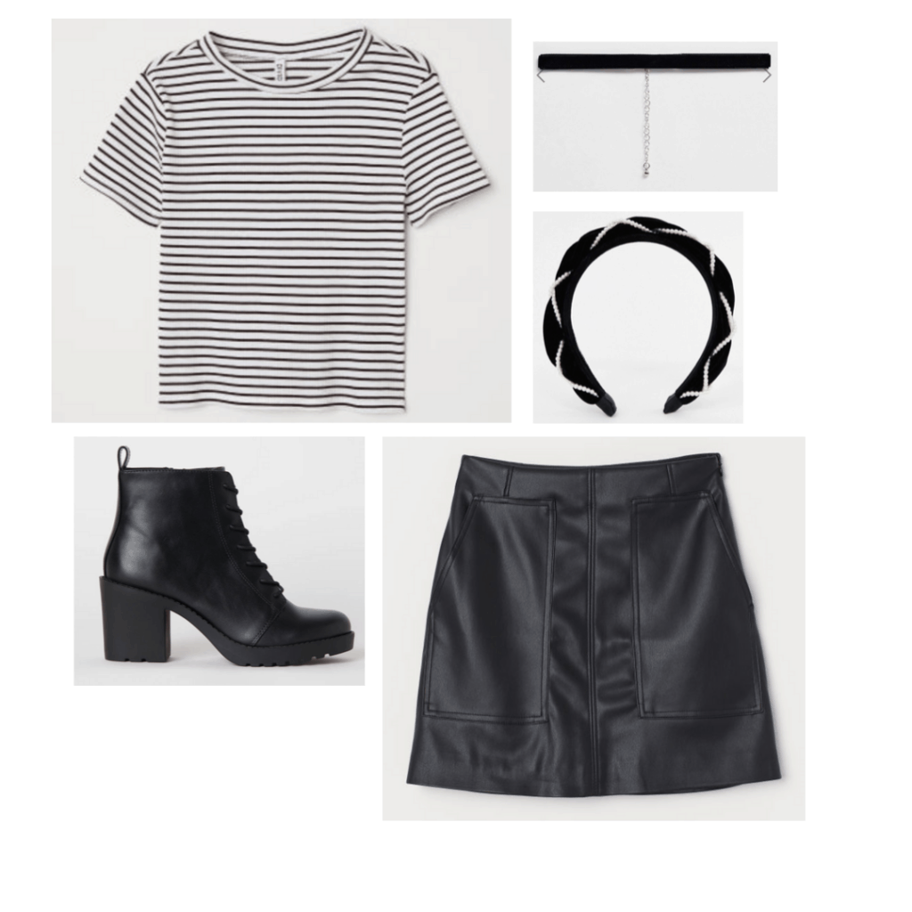 Outfit inspired by The Craft with striped black and white tee shirt, black leather skirt, black lace-up boots, puffy headband, choker