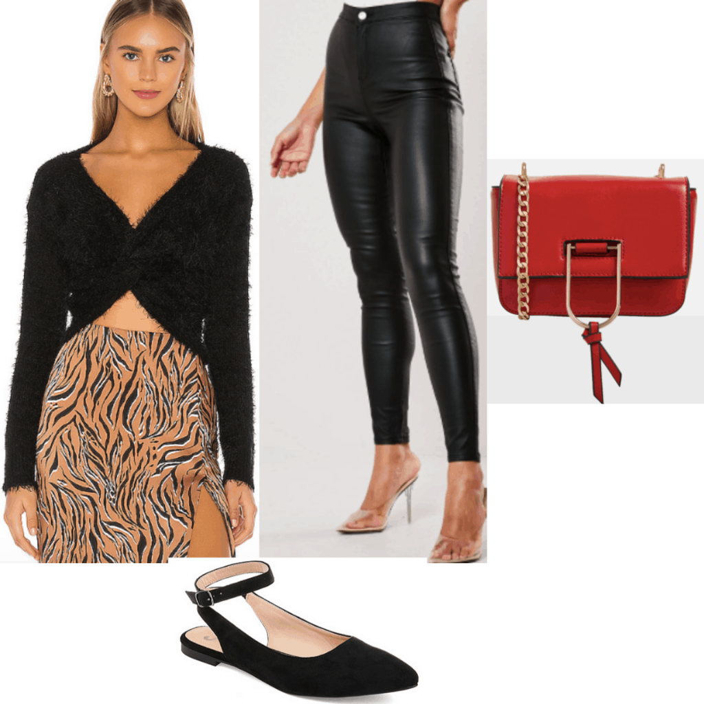 What to wear to a haunted house or hayride: Outfit set with fuzzy long sleeve top, pleather pants, red bag and black flats.
