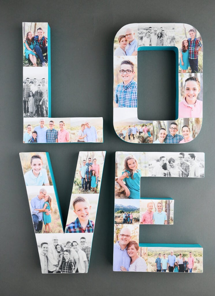 photos collaged on letters