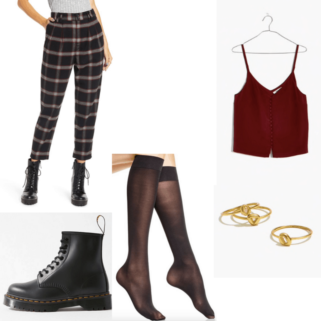 Outfit set with plaid pants, Burgundy cami, Doc Martens, sheer tights and gold rings.