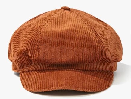 Headwear trends for fall: Corduroy Cabby hat in brown