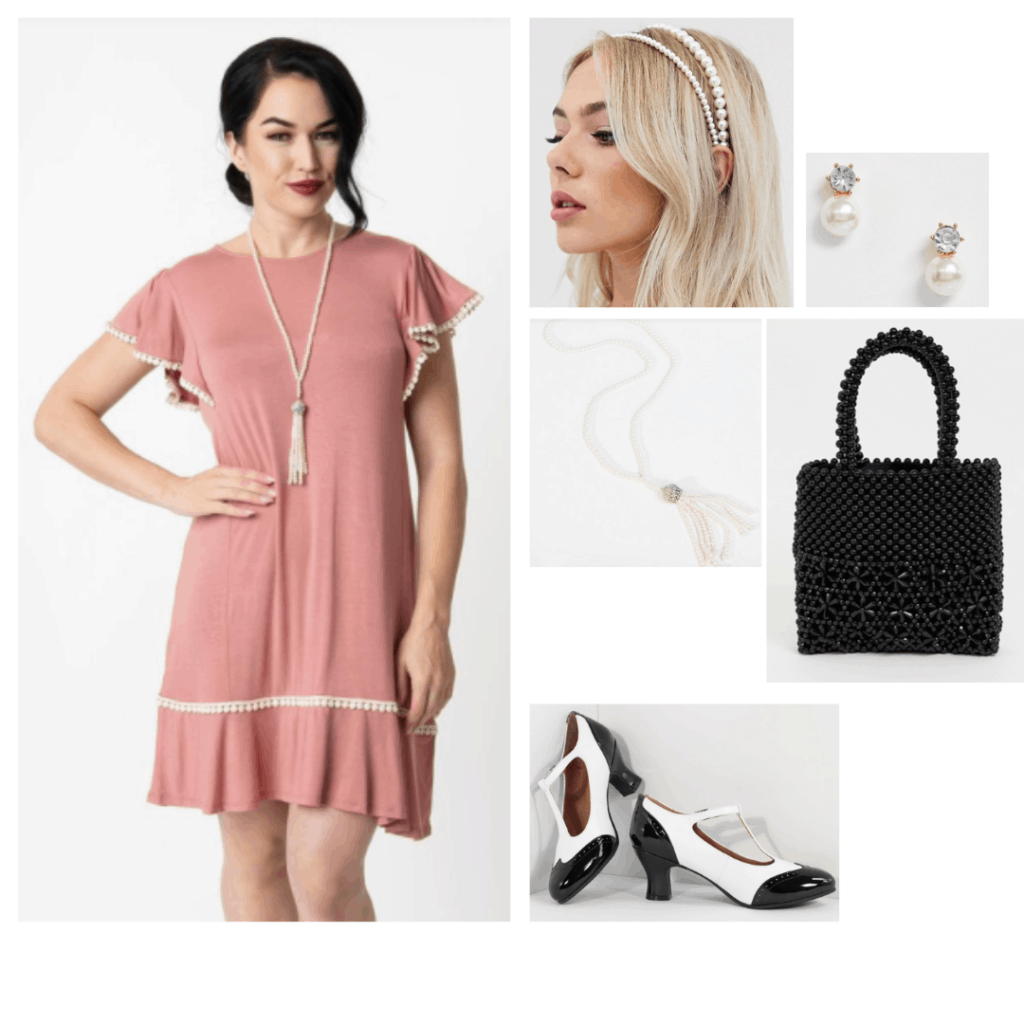 Downton Abbey movie fashion - 1920s inspired outfit with pink dress, saddle shoes, pearl jewelry and beaded bag