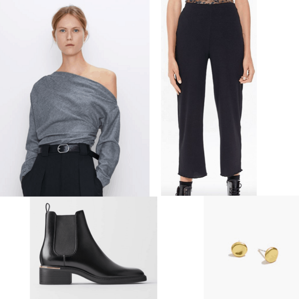 Outfit set with off the shoulder blouse, black trousers and black boots with gold earrings.