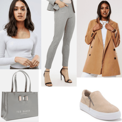 An outfit set full of light gray and camel colors with gray pants, camel coat, light cray top, light brown shoes, gray tote
