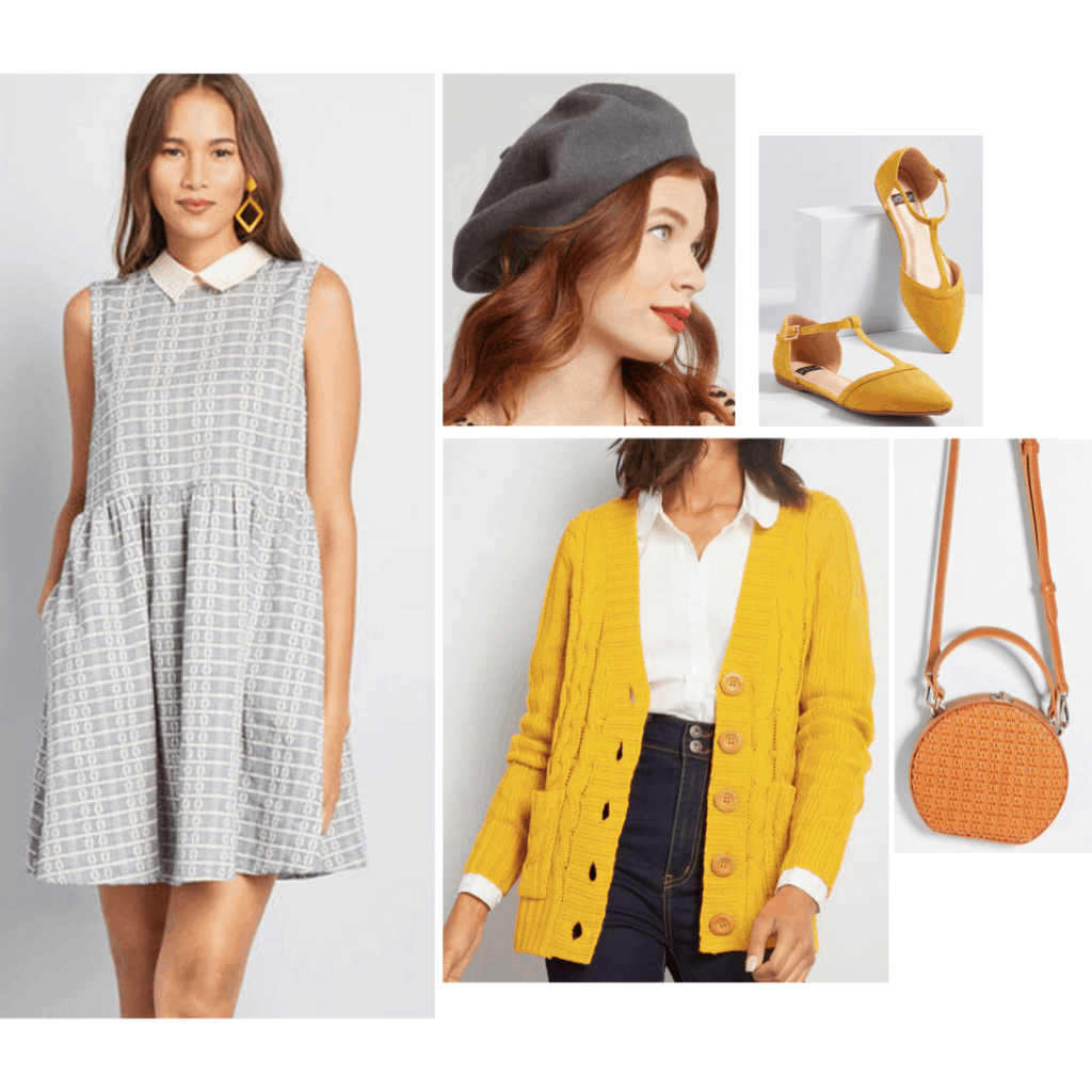 Rosemary's Baby fashion: Outfit inspired by Rosemary's style with patterned dress, yellow cardigan, flats, circle bag