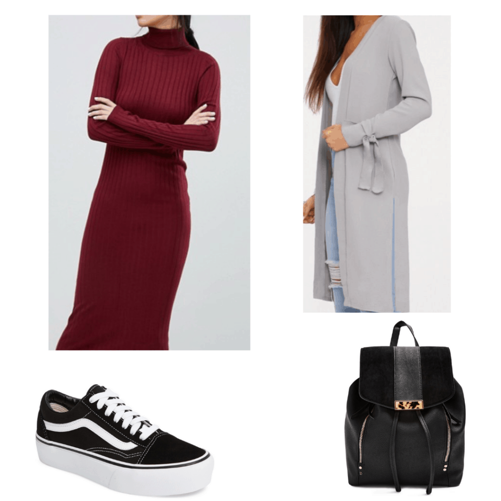 Fall internship outfits article casual – long dress, duster cardigan, backpack, sneakers