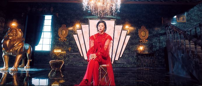 Twice feel special outfits: Jeongyeon in red pants and red bodysuit