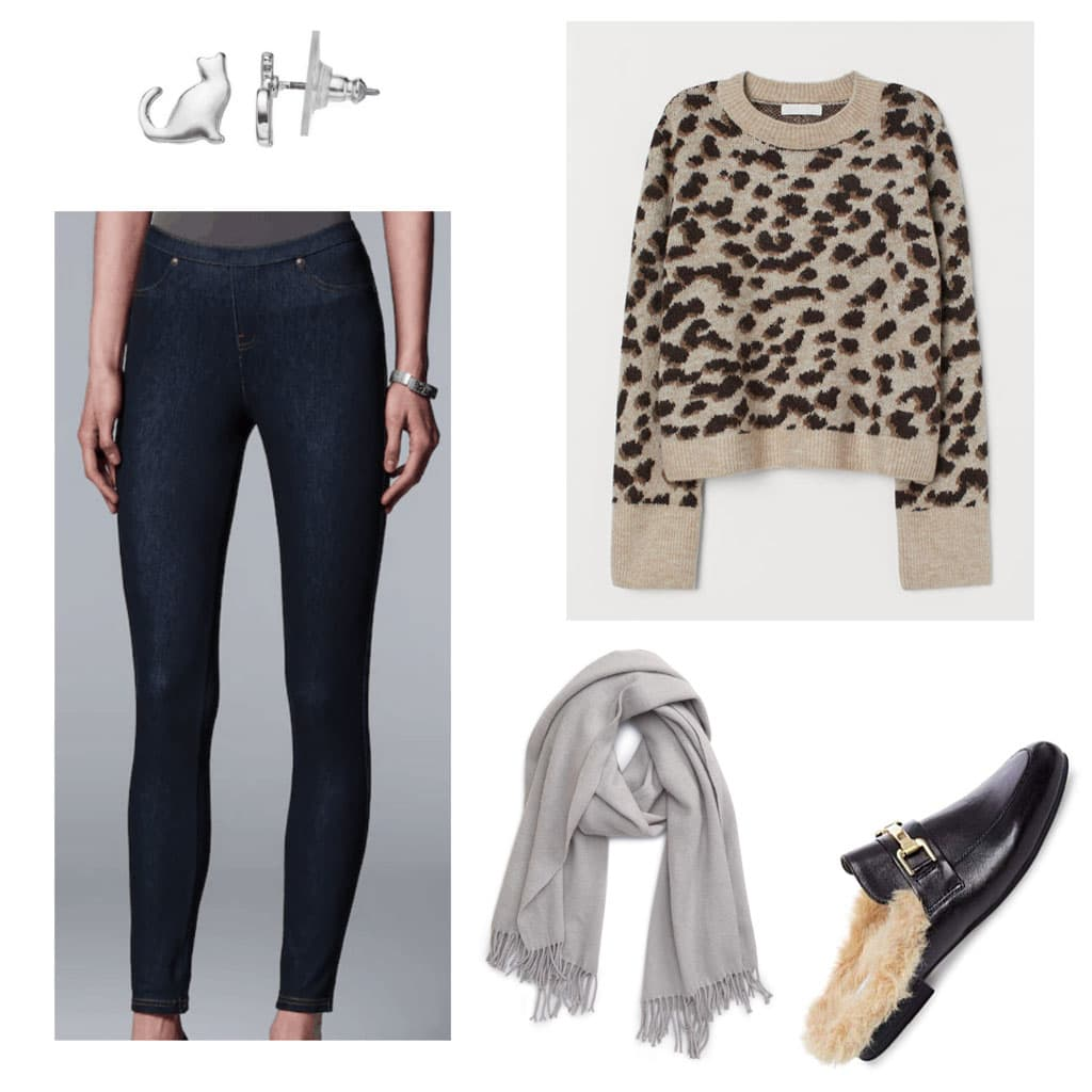 jeggings + knit sweater + scarf outfit for college with leopard sweater, faux fur mules, gray scarf, jeggings, cat earrings