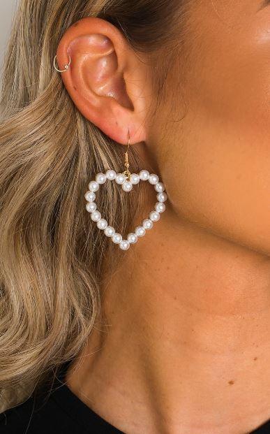Heart shaped pearl earrings