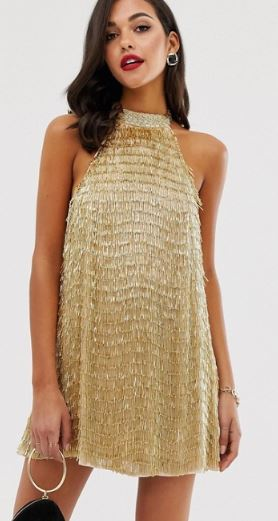Gold high neck mini dress inspired by Lu from Elite