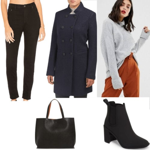 Mixing neutrals - An outfit set with black jeans, blue coat, light gray sweater, black shoes and bag.