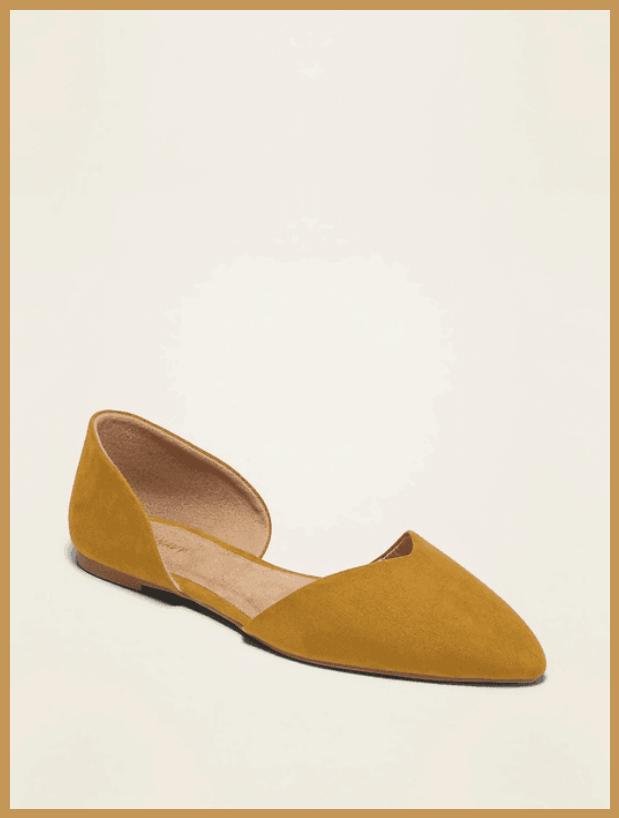 Mustard D'Orsay Pointed-Toe Ballet Flat