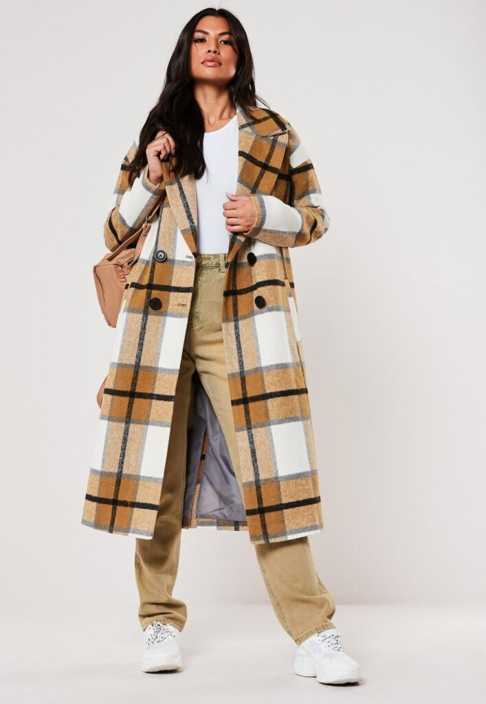 plaid trench coat in mustard yellow